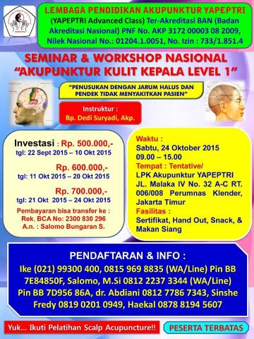"Foto: Seminar Dan Workshop Nasional ""scalp Acupuncture."